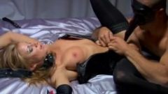Blonde slut gets fucked and dominated and put in her place beneath a man