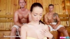FuckinHD – Lucie Wilde hot Fuck with 2 guys in the Sauna
