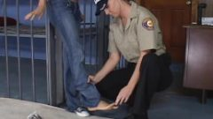 Arrested Girls blue converse shoes get removed by female cop