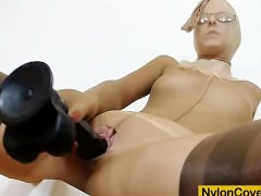 Slim blonde full in panty-hose