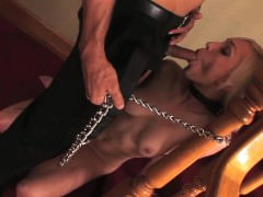 Lily Labeau on a leash! She's commanded to suck dick!