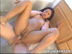 Asian babe is drooling all over the dude's hot dick