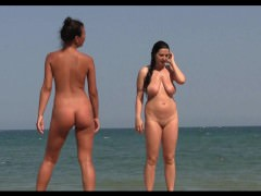 Sexy Nude Lesbian Milfs at the beach getting tanned