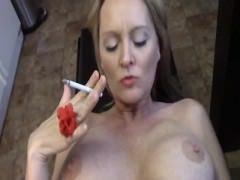 Hot Cougar Smoking and Getting It In Kitchin