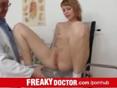Lean redhead Electra Angel treated by indecent cunt doctor
