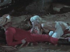YEE-HAW! Busty Wild West MILF gives cowboy expert blowjob by campfire!