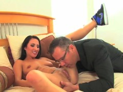 Lizz Tayler 's stepdad catches her playing with pussy & steps in to help