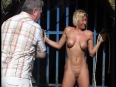 Outdoor whipping of blonde wife in hardcore public bdsm and milf humiliated