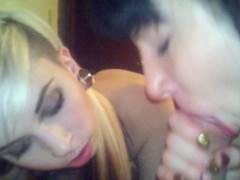 Sierra Cure and Tara give an amazing blow job.