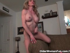Busty milf Raquel humps the couch in pantyhose