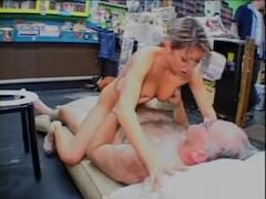 Jane Fucked by Fat Old Man in Adult Cinema