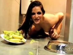 Bobbi Starr eats fruits, which she crushed with her feet