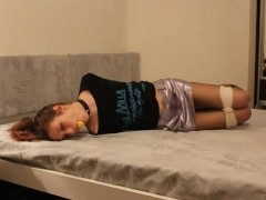 Sexy Teen Tied and Gagged on Bed