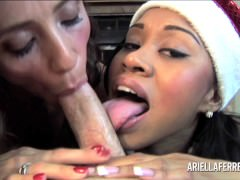 Threesome POV Blowjob – Ariella Ferrera and Yasmine De Leon holiday treat