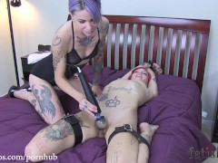 Roxy Frogtied on Bed and Teased by Krysta