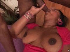Chubby ebony gives hot blowjob
