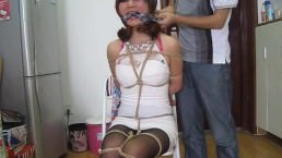 Asian bunny in ropes