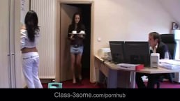 Maid and assistant threesome with the boss in the office