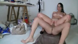 French slut gets Jizz all over her tits