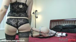 Juliette March Hogtied by Missy Minks with Leather Straps