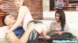 Glamcore eurobabes fuck dude in jacuzzi