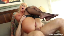 Busty blonde Lolly Ink lets him cum in her pussy
