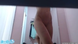 hot teen latina in private dressing room bent over in front of camera