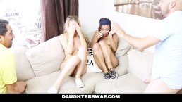 DaughterSwap – sneaky daughters get blindfolded and fucked by dads